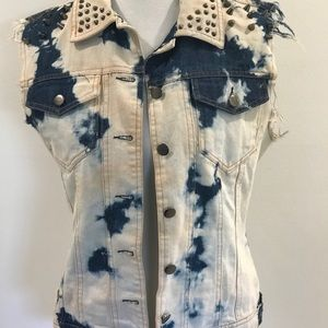 Rehab Acid wash Denim Vest Size S has Studs & Pins